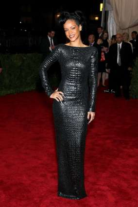 Rihanna the 2012 Met Gala wearing Tom Ford Fall 2012 crocodile dress