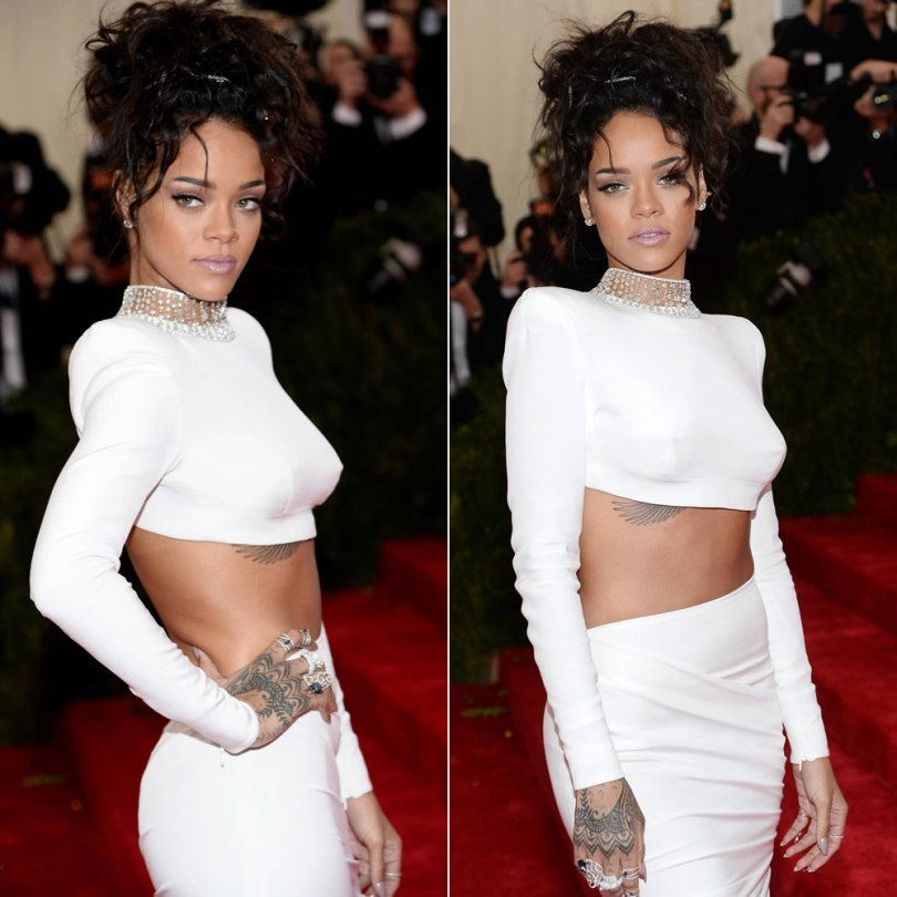 Rihanna at the 2014 Costume Institue Met Gala in white Stella McCartney cropped top and skirt, Christian Louboutin pumps, Jacob & Co diamond studs and choker