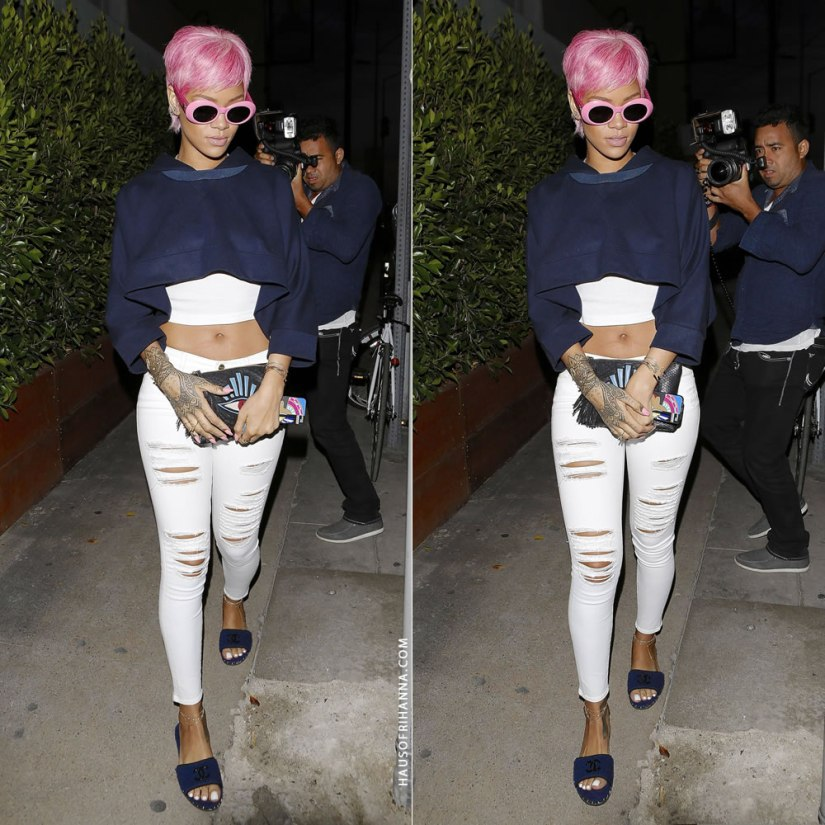 Rihanna wearing MM6 Maison Martin Margiela dolman cropped hoodie, Frame Denim Le Color Rip skinny jeans, Chanel slide sandals, Versace pink croc sunglasses, Jacquie Aiche clutch, Melody Eshani Clea iphone case