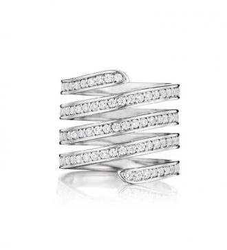 Lynn Ban sterling silver and white diamond coil ring