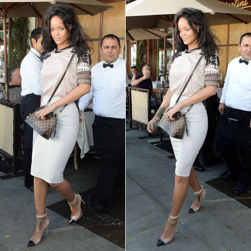 Rihanna wearing custom Givenchy Fall 2013 baseball print t-shirt and pencil skirt, Gianvito Rossi ankle-strap pumps, Louis Vuitton Alma BB bag in Damier Ebene, Jacquie Aiche diamond shaker toe anklet, Dior Diorific open choker