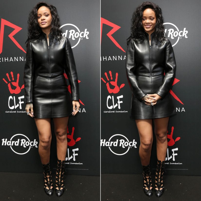 Rihanna wearing Azzedine Alaia leather top, skirt and boots at Hard Rock Cafe Paris