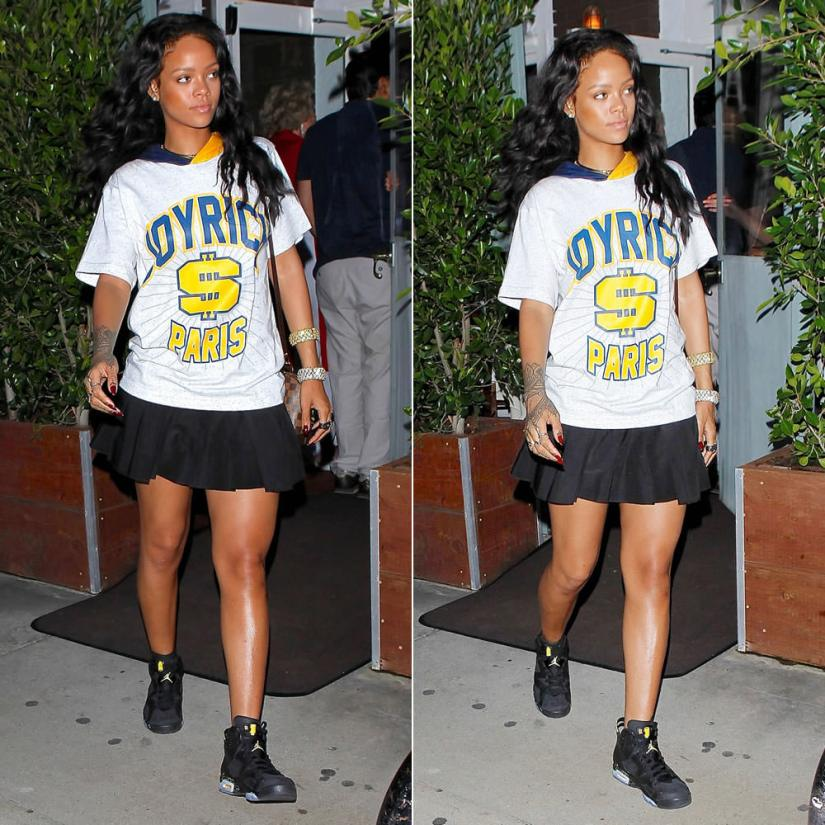 Rihanna wearing Joyrich Paris team hoodie, Alexander Wang pleated mini skirt, Air Jordan Retro VI Brazil World Cup sneakers, Lynn Ban skull rings and diamond coil ring, Jennifer Fisher knot choker, Jacquie Aiche diamond toe anklet