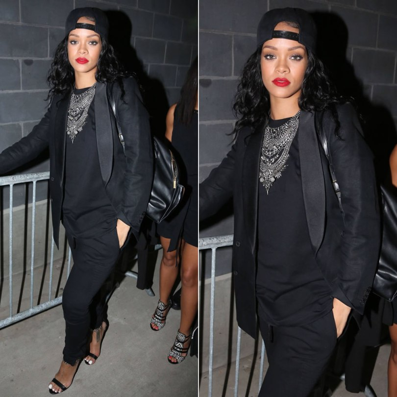 Rihanna wearing VENUSxMARS black Spock sweatshirt and Buck Rogers sweatpants, Manolo Blahnik Chaos Chain sandals, Stella McCartney Beckett backpack, DYLANLEX Falkor necklace, Jacquie Aiche diamond anklets