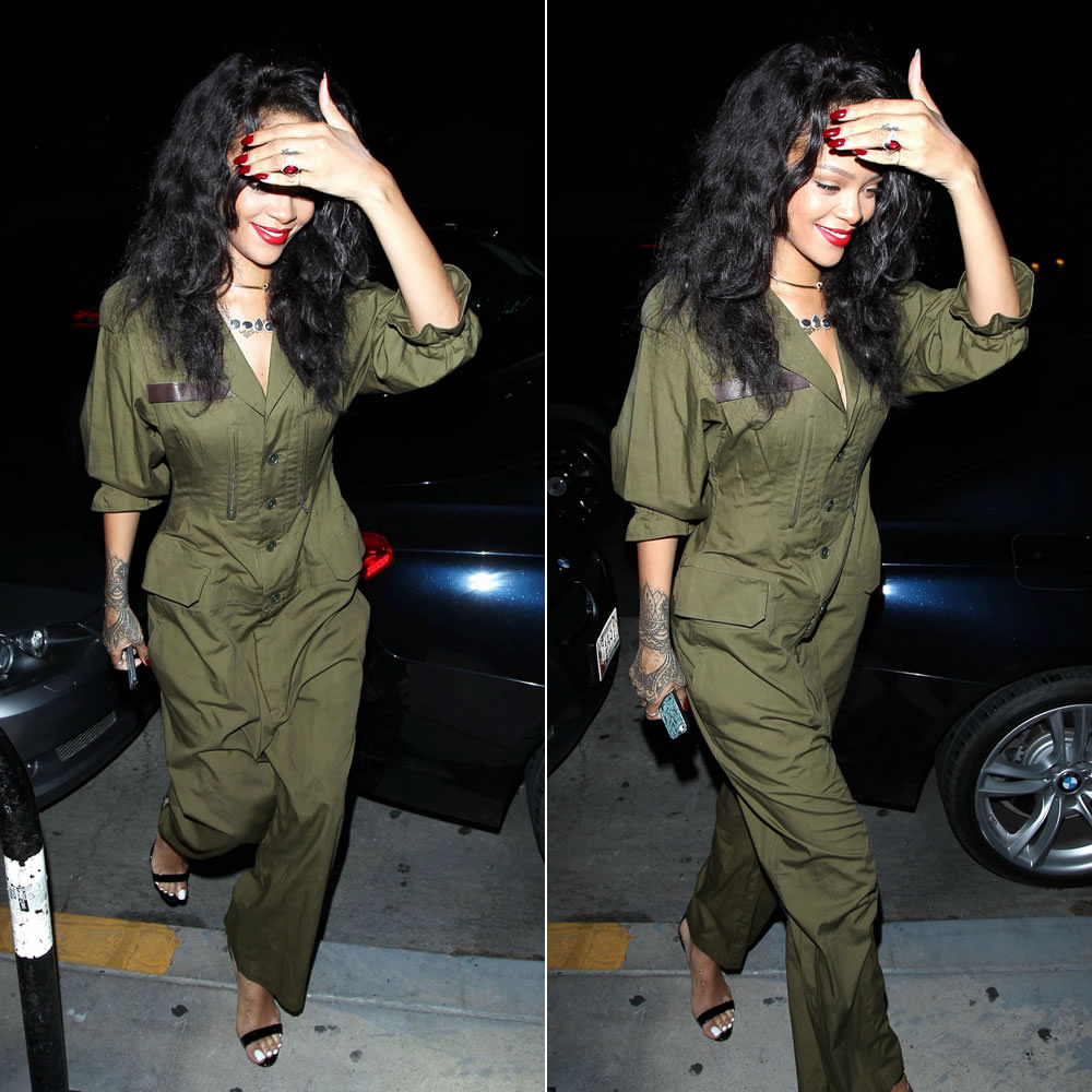49615820a3e Rihanna dined at Giorgio Baldi restaurant last night in Los Angeles. She  wore a khaki green jumpsuit from Regulation by Yohji Yamamoto.