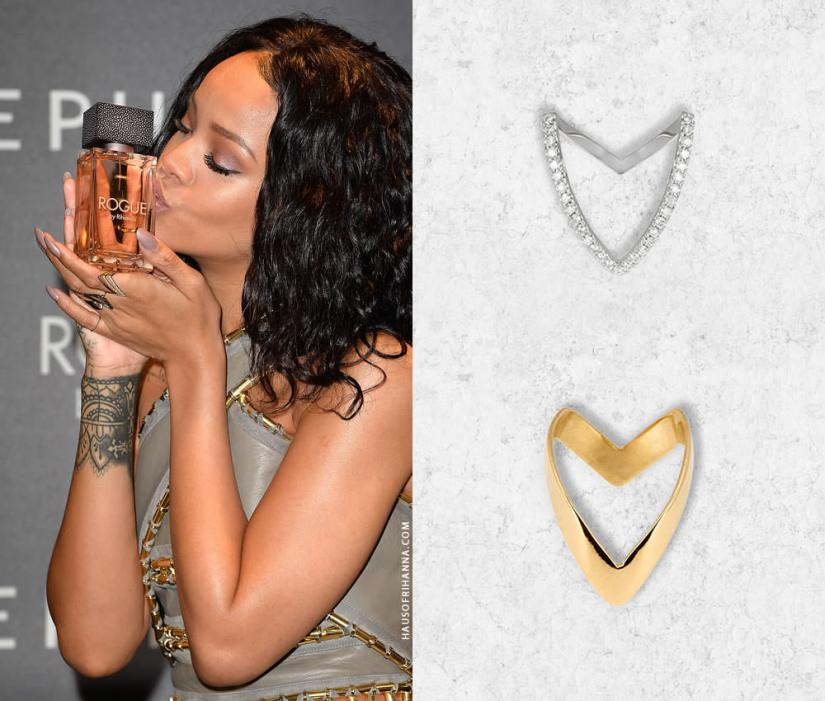 Rihanna wearing Yvonne Leon Viviane diamond and gold V rings
