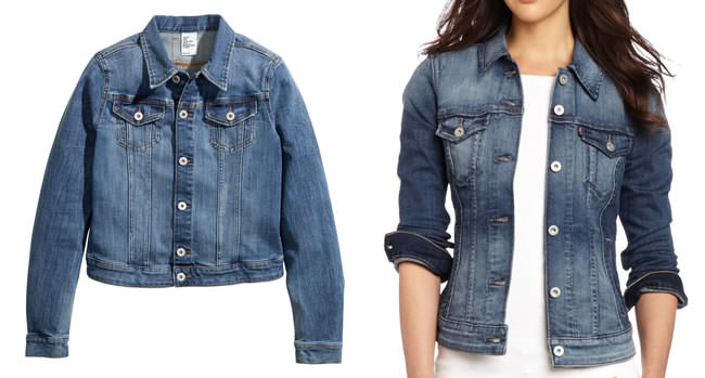Denim jackets by H&M and Levi's