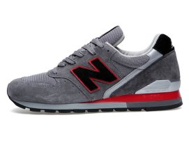 New Balance 996 sneakers in grey suede/black/red