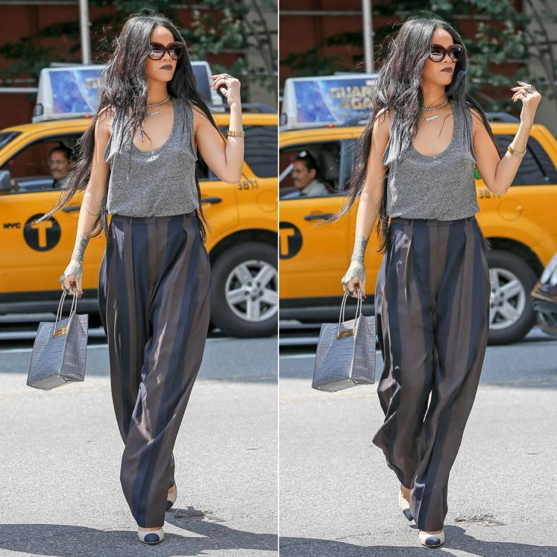 Rihanna wearing Italia Independent 0092V brown velvet sunglasses, Balenciaga Fall 2014 crocodile tote with cable straps, Lynn Ban chevron ring, Fallon emerald cut silhouette ring, Chanel Resort 2014 knot heel pumps