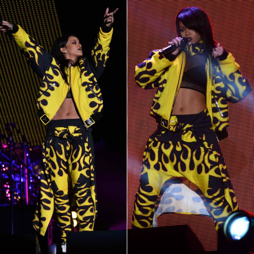 Rihanna performing during The Monster Tour in Asger Juel Larsen Fall 2013 flame jacket and pants, Dr. Martens Jadon white platform boots, Ambush crest choker, Lynn Ban rings