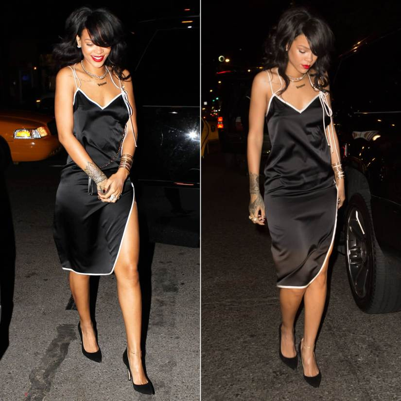 Rihanna wearing Adam Selman black slip dress, Tom Ford icon chain handle evening bag, Manolo Blahnik BB suede pumps, Yvonne Leon pearl earrings