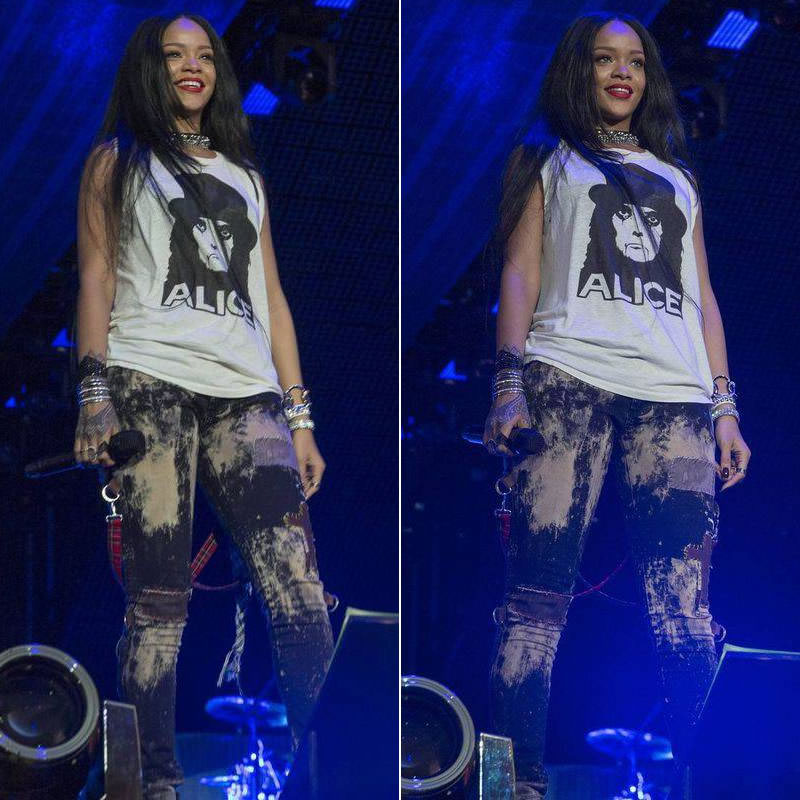 Rihanna in Alice Cooper white t-shirt, Tripp NYC acid wash bondage pants, Comme des Garcons high-top black sneakers, Lynn Ban jewelry during The Monster Tour in Detroit