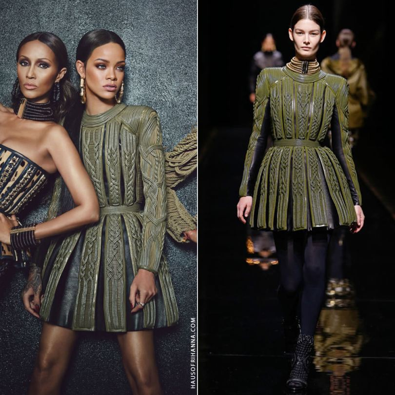 Rihanna in W Magazine September 2014 wearing Balmain Fall 2014 green pleated dress