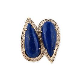 Jacquie Aiche double teardrop lapis ring as seen on Rihanna
