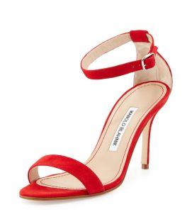 Manolo Blahnik Chaos ankle-strap sandals in red suede