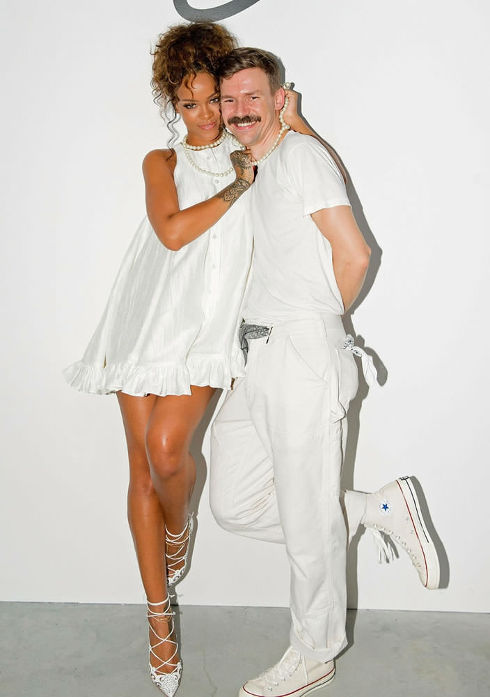 Rihanna in Adam Selman Spring/Summer 2015 white baby doll dress, Christian Louboutin Impera white laser-cut pumps, Jennifer Fisher xl white south sea pearl ring, Ana Khouri Jane pearl ear cuff earring