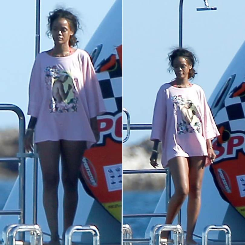 Rihanna in DimePiece LA Tupac pink gangster oversized t-shirt