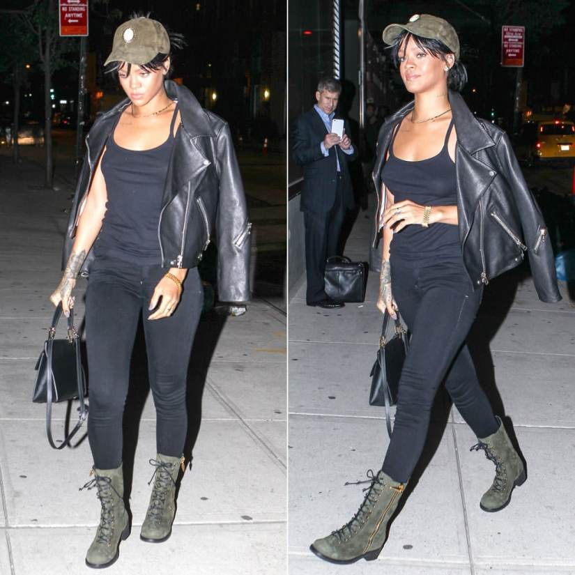 Rihanna in Silver Spoon Attire green suede cameo cap, Citizens of Humanity Avedon skinny jeans in Axel, Acne Studios Rita black leather jacket, Giuseppe Zanotti Blok green suede combat boots, Balenciaga Le Dix Cartable satchel handbag
