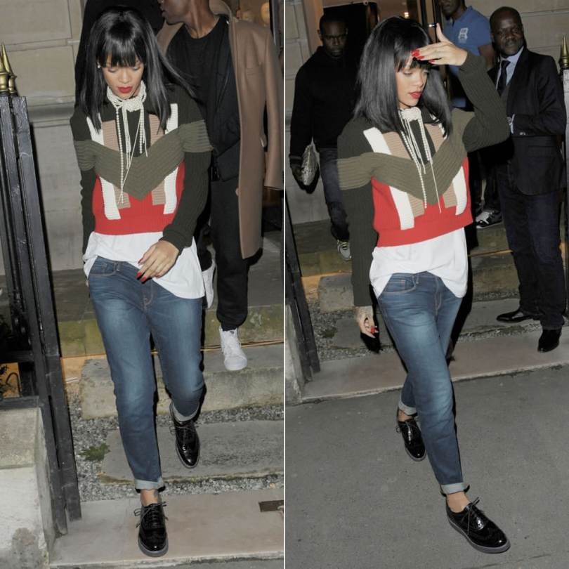 Rihanna wearing Givenchy geometric colour block sweater, Frame Denim Le Garcon boyfriend jeans in Berkeley Square, Lanvin brogues, Chanel glass pearl knotted multi-strand short necklace