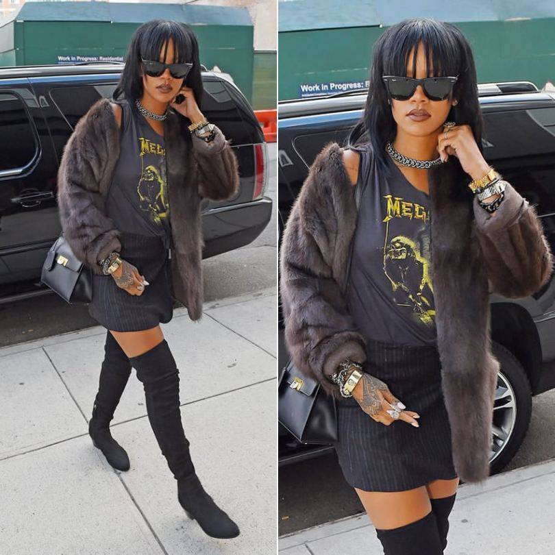 Rihanna wearing Ray-Ban wayfarer sunglasses, Isabel Marant Adele fur and knitted jacket, Megadeth Mary Jane vintage 1988 t-shirt, Chanel black suede thigh high boots, Balenciaga Le Dix Cartable S satchel, Jason of Beverly Hills white diamond double angel wing ring, Lynn Ban topaz chain choker