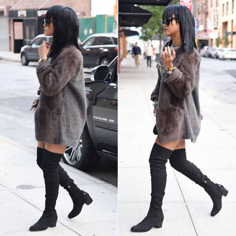 """Rihanna wearing Ray-Ban wayfarer sunglasses, Isabel Marant Adele fur and knitted jacket, Megadeth Mary Jane vintage 1988 t-shirt, Chanel black suede thigh high boots, Balenciaga Le Dix Cartable S satchel, Jason of Beverly Hills white diamond double angel wing ring, Lynn Ban topaz chain choker"