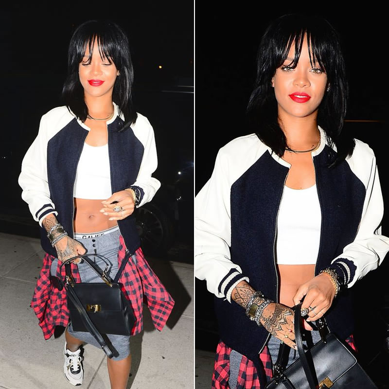 Rihanna wearing Isabel Marant Etoile Cyrpess leather sleeve jacket, Chanel white sneakers, Balenciaga Le Dix Cartable satchel handbag, Delfina Delettrez triple stones ring, Jason of Beverly Hills double angel wing diamond ring, Rihanna for River Island black briefs, Jennifer Zeuner Samara choker necklace
