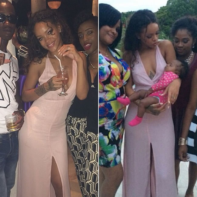 Rihanna in Reformation Rivulet pink halter maxi dress