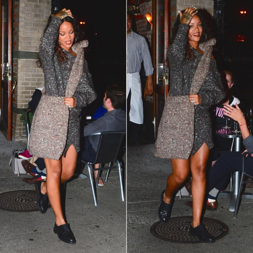 Rihanna wearing Stella McCartney Fall 2014 chunky off set shapes wool knit dress and handbag, Jacquie Aiche triple chain diamond anklet, Jennifer Fisher silver ball choker, Robert Clergerie rack tile oxford shoes