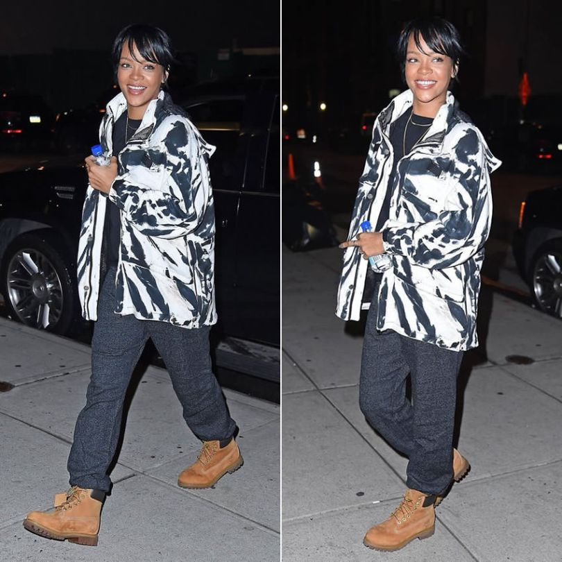 Rihanna in This Is A Love Song Deacon black and white tie dye coat, Timberland premium wheat nubuck boots