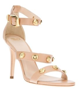 Versace Signature Medusa studded sandals in nude