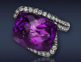 Jacob & Co rose cut amethyst and diamond ring as seen on Rihanna