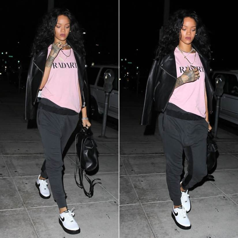 Rihanna wearing Acne Studios Rita black leather jacket, Rodarte Radarte pink t-shirt, Haider Ackermann drop crotch trousers, Mr Completely custom Nike Creepy Cortez creepers, Reece Hudson Siren leather backpack
