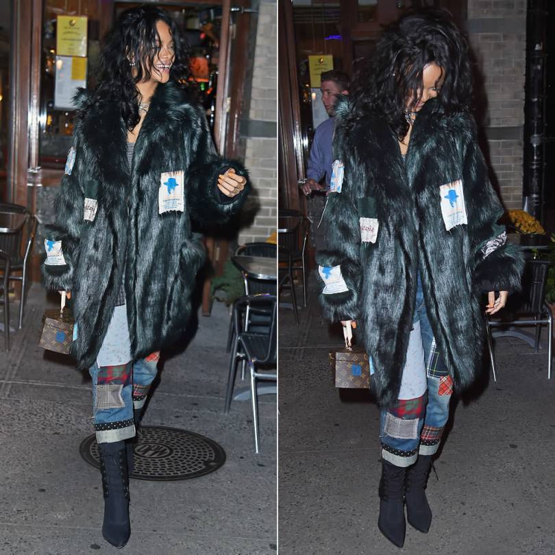 Rihanna wearing Martine Rose Fall/Winter 2014 fur coat, Junya Watanabe cropped patchwork jeans, Alexander Wang for H&M lace-up boots, Louis Vuitton Twisted Box bag
