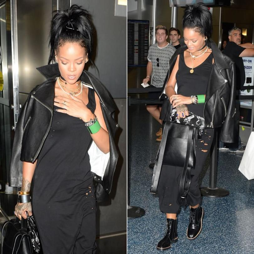 Rihanna wearing Drifter distressed black tank dress, Nektar de Stagni Lady Bug polka dot pearl and gold-plated choker, Acne Studios Rita cropped leather jacket, Celine knot cuff and edge cuff, Maison Martin Margiela black burnished lace-up ankle boots, Reece Hudson Siren leather backpack, Campise gun necklace, Saint Laurent gun print clutch, Jacquie Aiche lapis gemstone teardrop ring