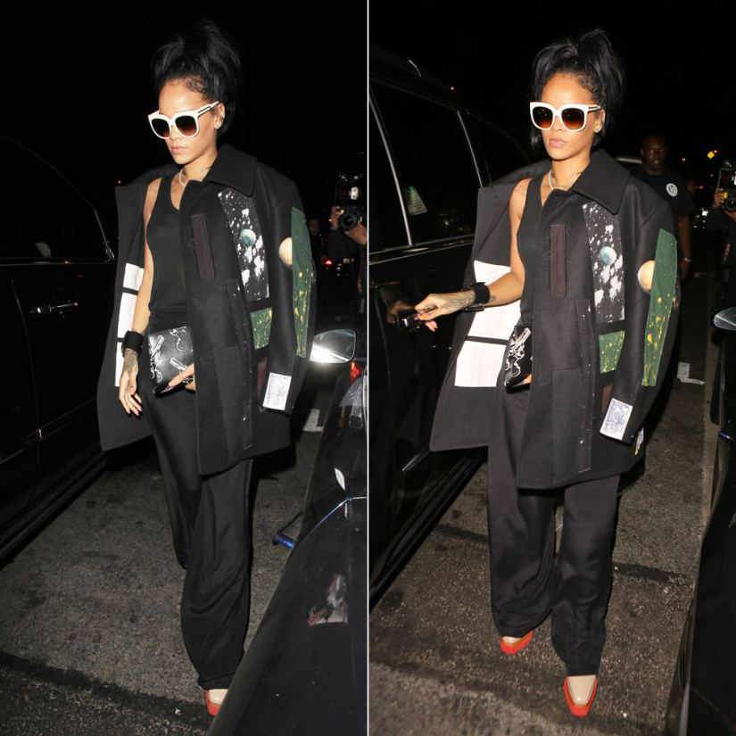 Rihanna wearing Stella McCartney cream oversized sunglasses and Britt pink platform lace-up shoes, Raf Simons by Sterling Ruby Fall 2014 wool patch coat, Saint Laurent gun print clutch, Nektar de Stagni pearl choker, Givenchy wide buckle cuff
