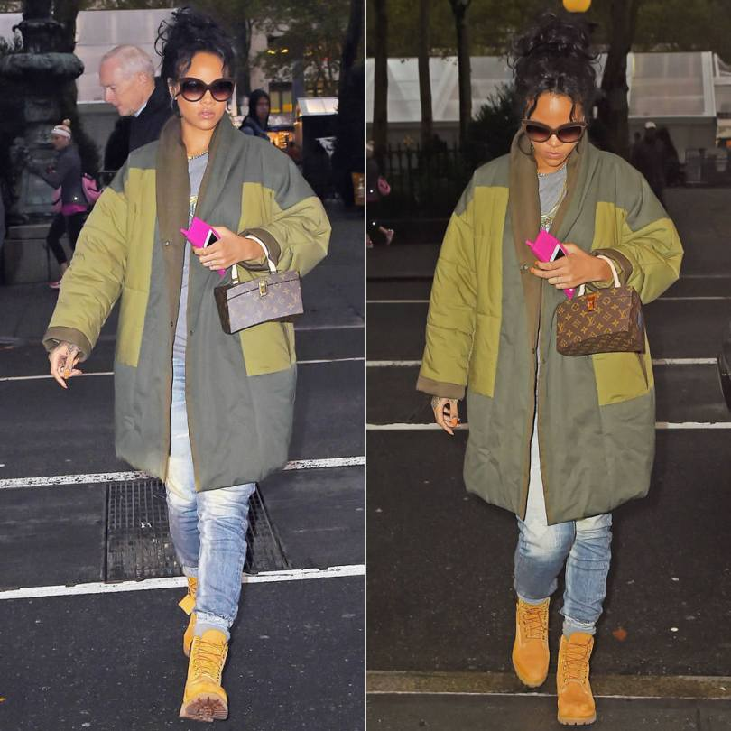 Rihanna wearing Italia Independent 0092V brown velvet sunglasses, Isabel Marant Flor green quilted coat, Rag and Bone pajama jeans, Timberland boots, Louis Vuitton Twisted Box bag, Moschino pink retro phone case