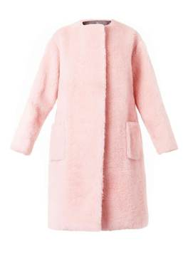 Rochas pink boiled-wool collarless coat as seen on Rihanna