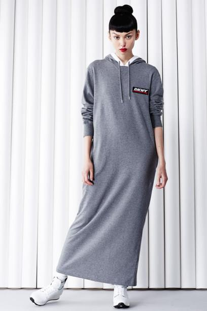 DKNY for Opening Ceremony athletic tag and logo hooded dress as seen on Rihanna