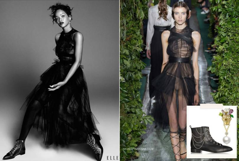 Rihanna in Elle magazine December 2014 wearing Valentino Fall 2014 couture sheer black gown, Giuseppe Zanotti chain-embellished lace-up ankle boots, Holly Dyment skull pearl earring