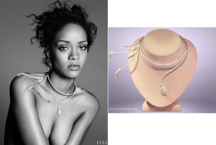 Rihanna in Elle magazine December 2014 wearing a Yeprem diamond necklace