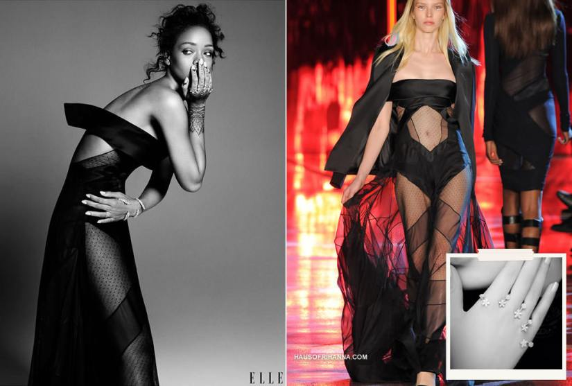 Rihanna in Elle magazine December 2014 wearing Alexandre Vauthier Fall 2014 couture black strapless gown and Yeprem diamond hand bracelets