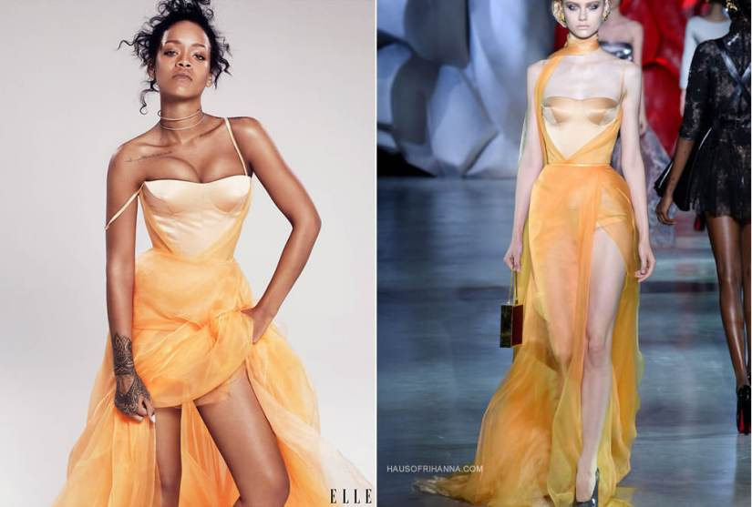 Rihanna in Elle magazine December 2014 wearing Ulyana Sergeenko Fall 2014 couture yellow gown and Jennifer Fisher double diamond choker