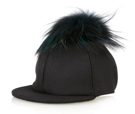 Fendi fur pom pom baseball cap as seen on Rihanna
