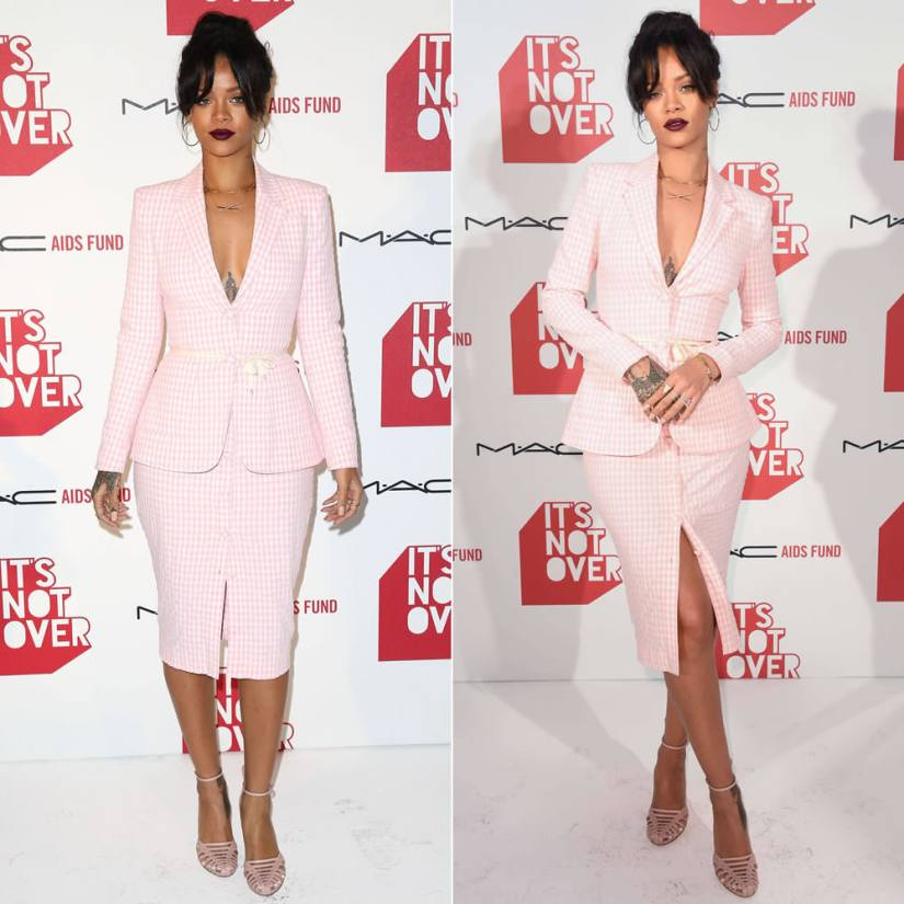 Rihanna in Altuzarra Spring/Summer 2015 pink gingham skirt suit and Cocco sandals at MAC It's Not Over film premiere