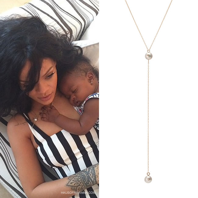 Rihanna wearing Jennifer Fisher white south sea pearl cleavage chain necklace