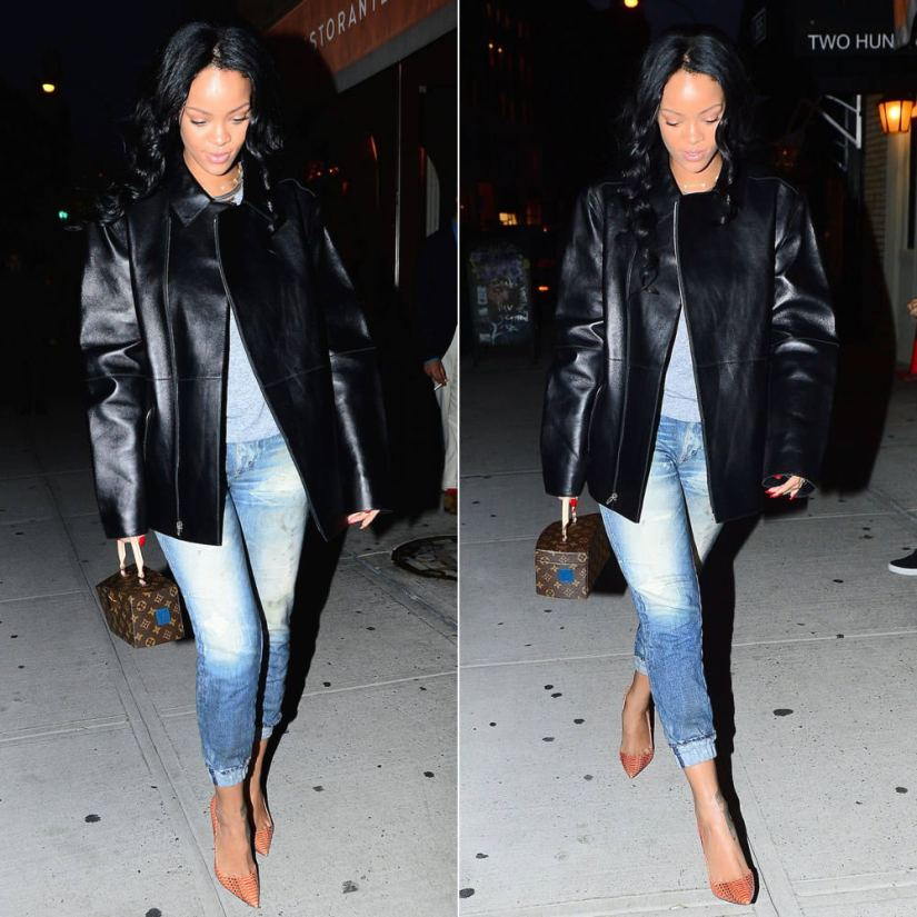 Rihanna wearing Rag and Bone pajama jeans lounge pants and Christian Louboutin So Kate watersnake orange pumps