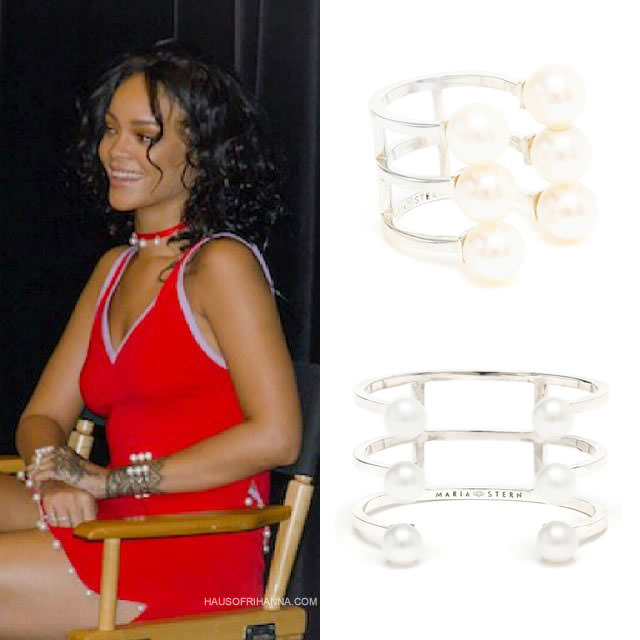 Rihanna wearing Maria Stern multiple pearl ring and triple tier pearl cuff bracelet