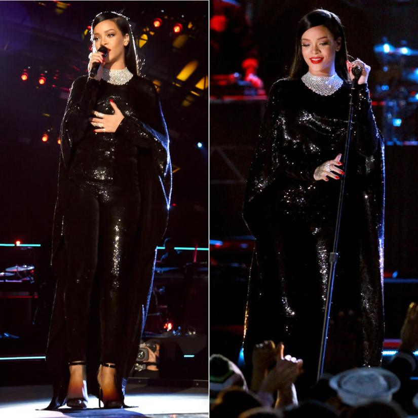 Rihanna at the Concert for Valor in Tom Ford Spring 2015 black liquid sequin cape, t-shirt and leggings and Manolo Blahnik Chaos sandals