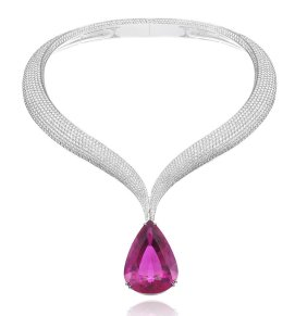 Chopard diamond and rubellite necklace as seen on Rihanna