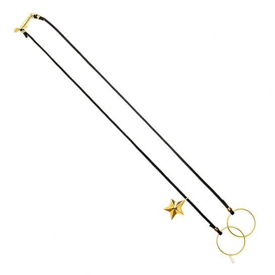 Inez & Vinoodh black leather necklace with star charm as seen on Rihanna